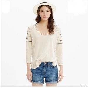 Madewell embroidered scoop neck boho tunic top